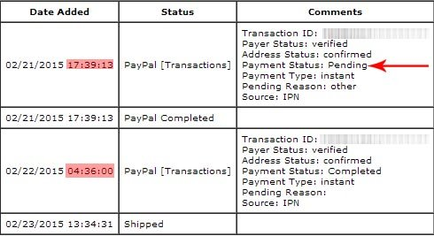 PayPal Payment Status: Completed vs  Pending - same store